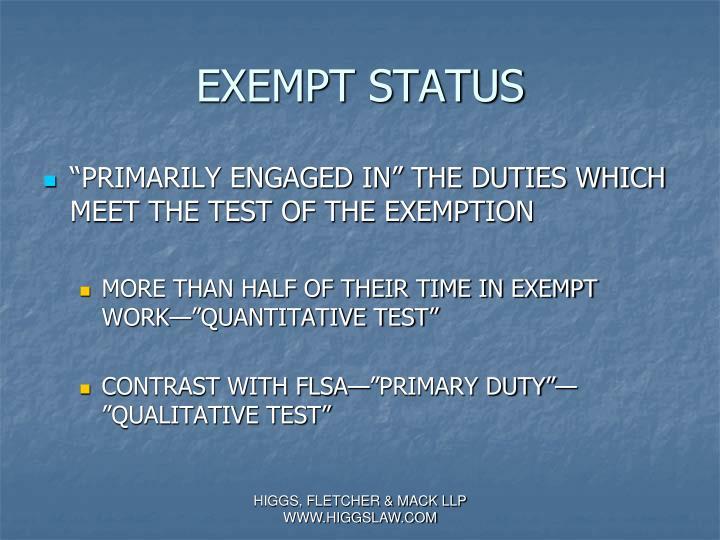 EXEMPT STATUS