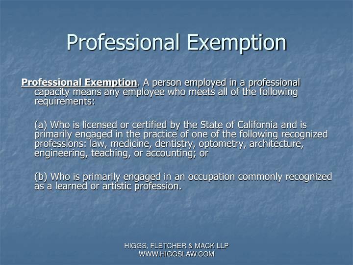 Professional Exemption