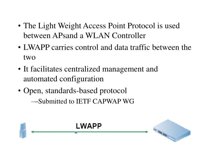 The Light Weight Access Point Protocol is used between APsand a WLAN Controller