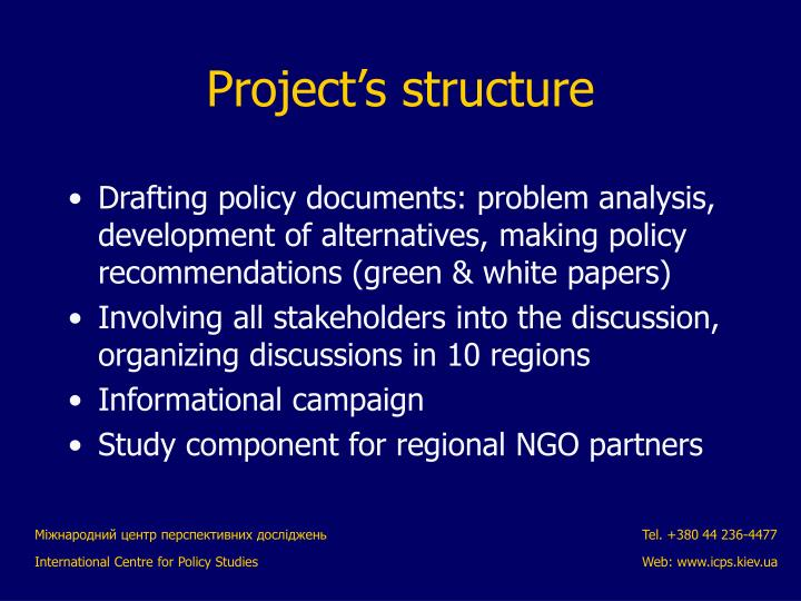 Drafting policy documents: problem analysis, development of alternatives, making policy recommendations (green & white papers)