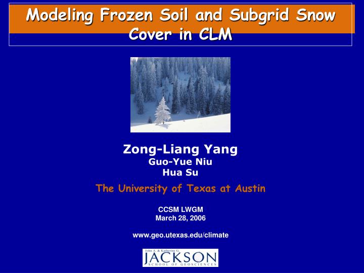 Modeling Frozen Soil and Subgrid Snow Cover in CLM