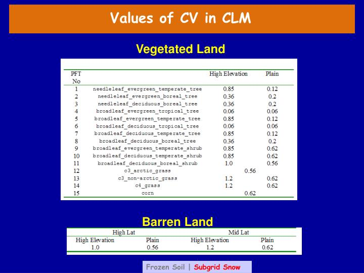 Values of CV in CLM