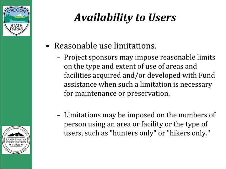 Availability to Users