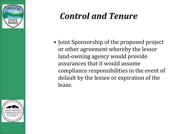 Control and Tenure