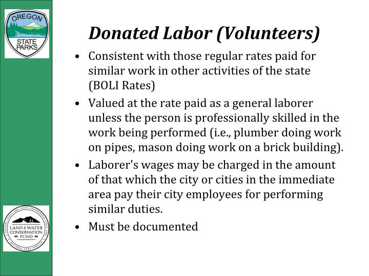 Donated Labor (Volunteers)