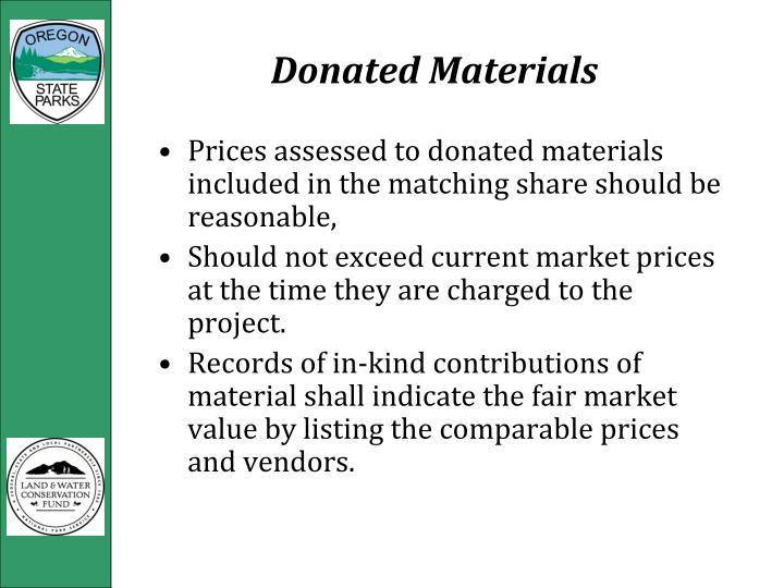 Donated Materials