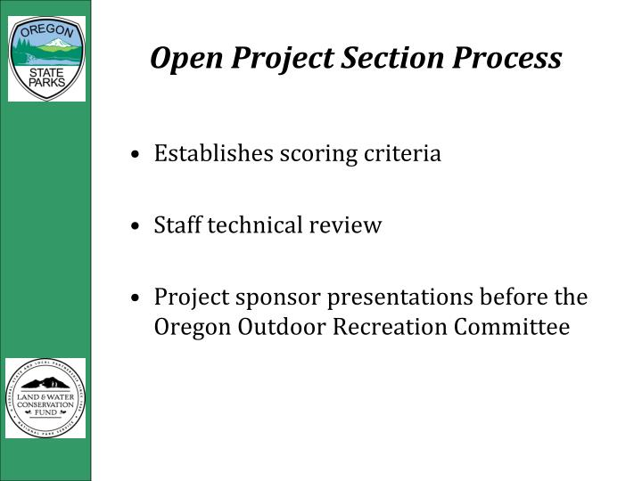 Open Project Section Process