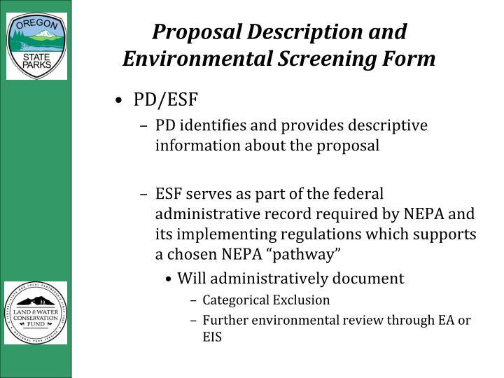 Proposal Description and Environmental Screening Form