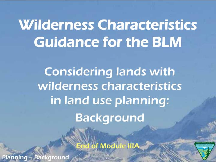 Wilderness Characteristics