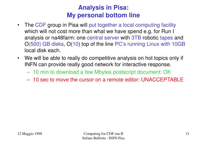 Analysis in Pisa: