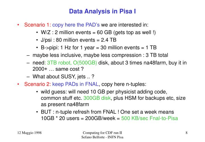 Data Analysis in Pisa I