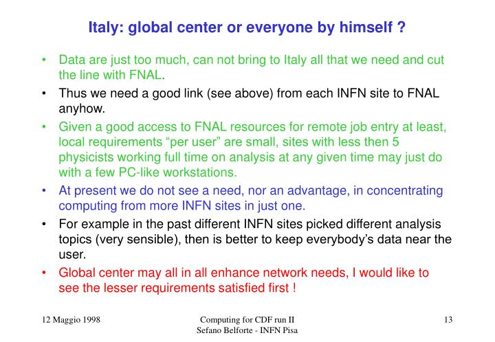 Italy: global center or everyone by himself ?