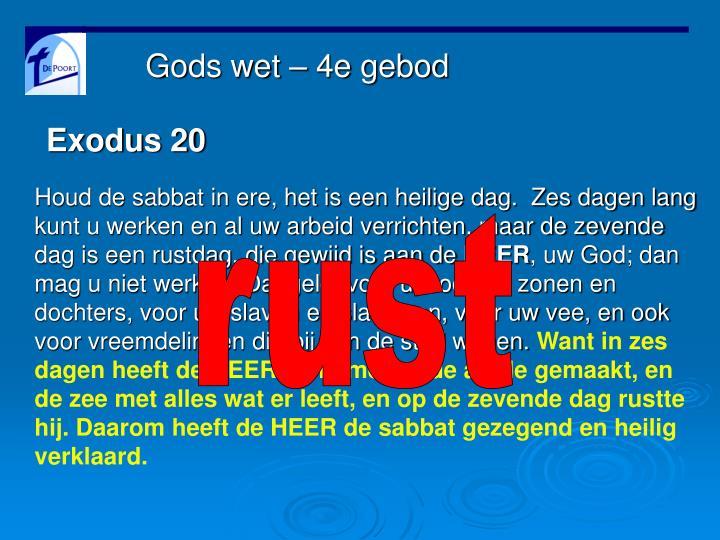 Gods wet – 4e gebod
