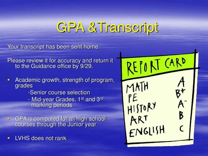 GPA &Transcript
