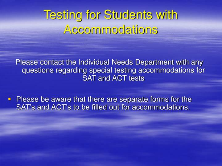 Testing for Students with Accommodations