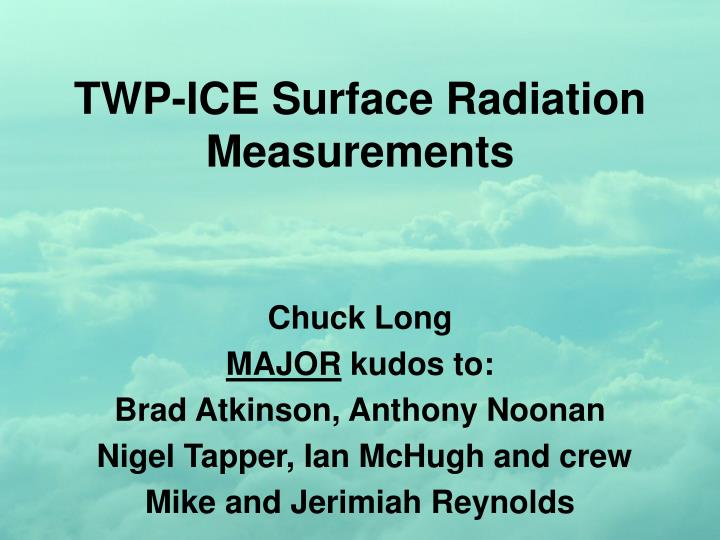 Twp ice surface radiation measurements