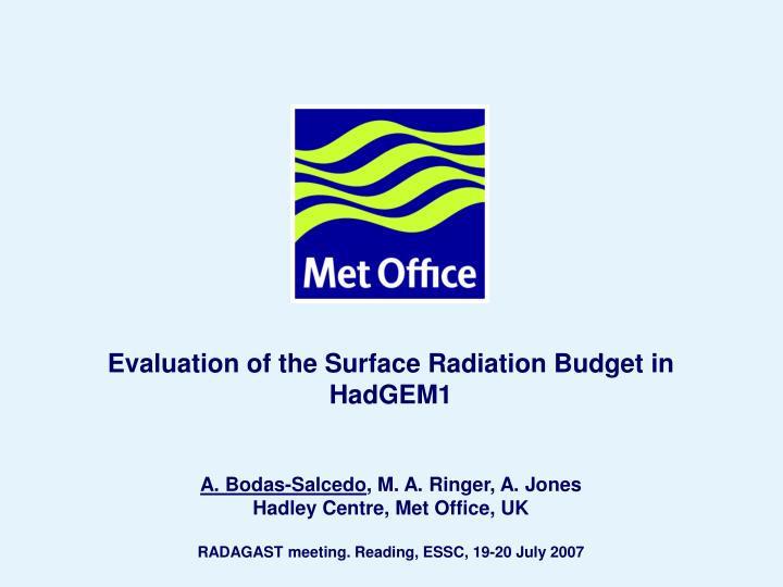 Evaluation of the Surface Radiation Budget in HadGEM1