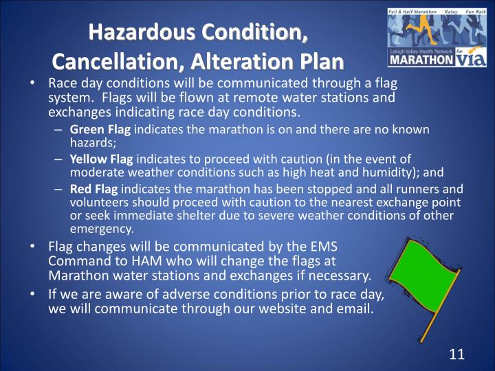 Hazardous Condition, Cancellation, Alteration Plan