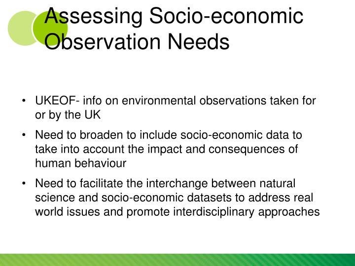 Assessing Socio-economic Observation Needs