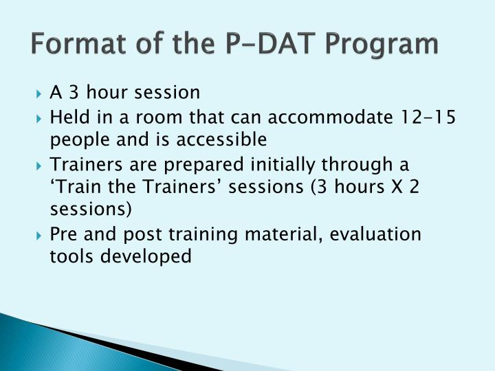 Format of the P-DAT Program