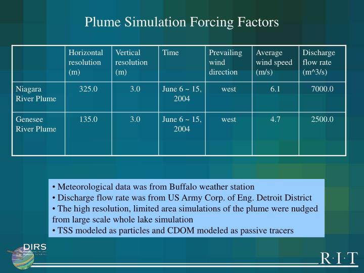 Plume Simulation Forcing Factors