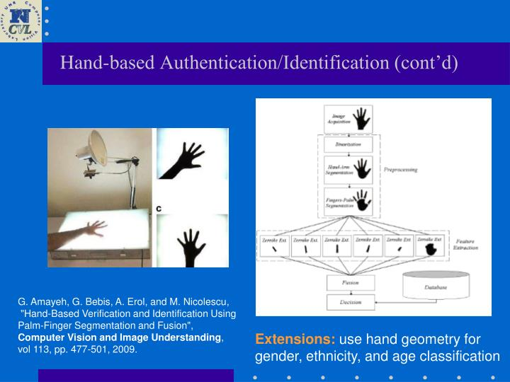 Hand-based Authentication/Identification (cont'd)
