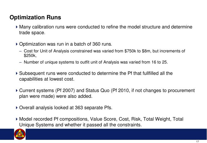Optimization Runs