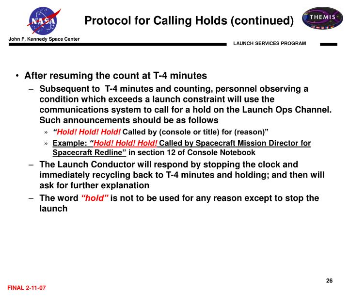 Protocol for Calling Holds (continued)
