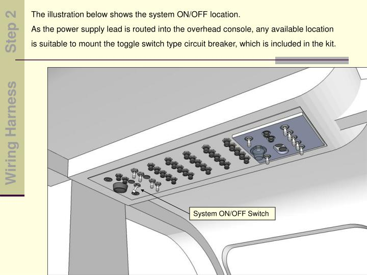 The illustration below shows the system ON/OFF location.