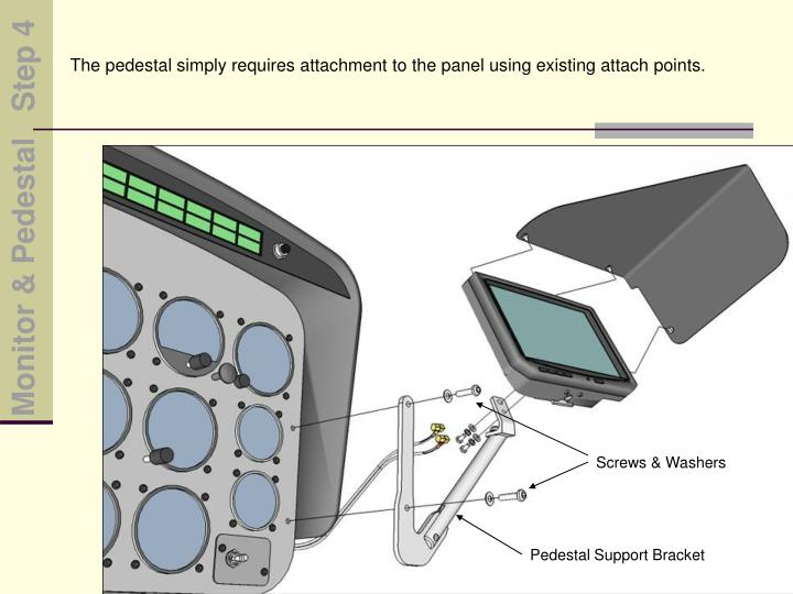 The pedestal simply requires attachment to the panel using existing attach points.