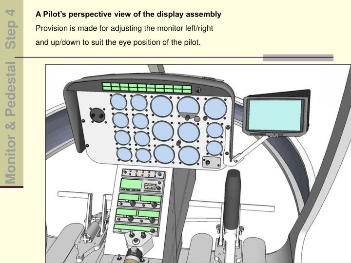 A Pilot's perspective view of the display assembly