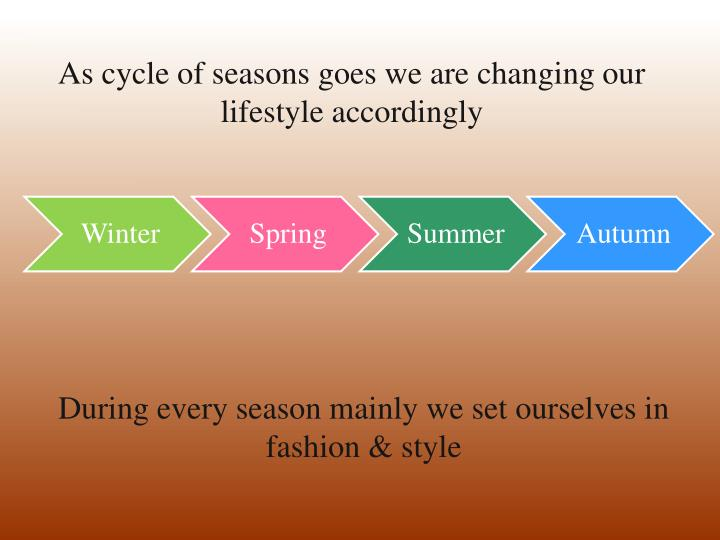 As cycle of seasons goes we are changing our