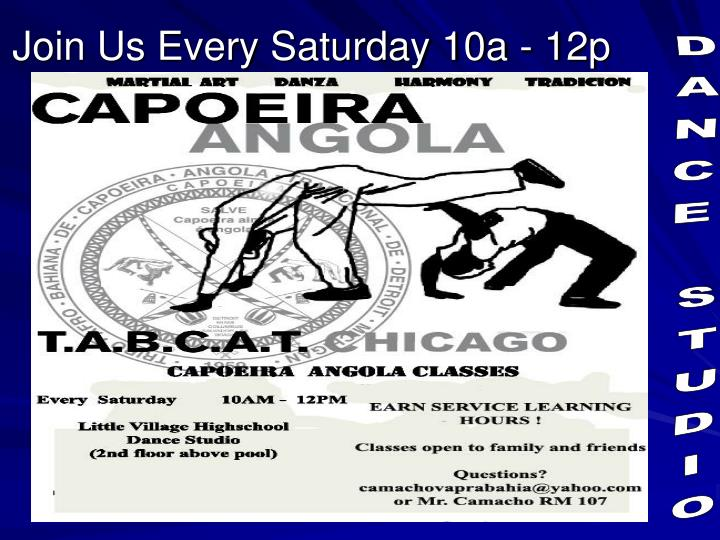 Join Us Every Saturday 10a - 12p