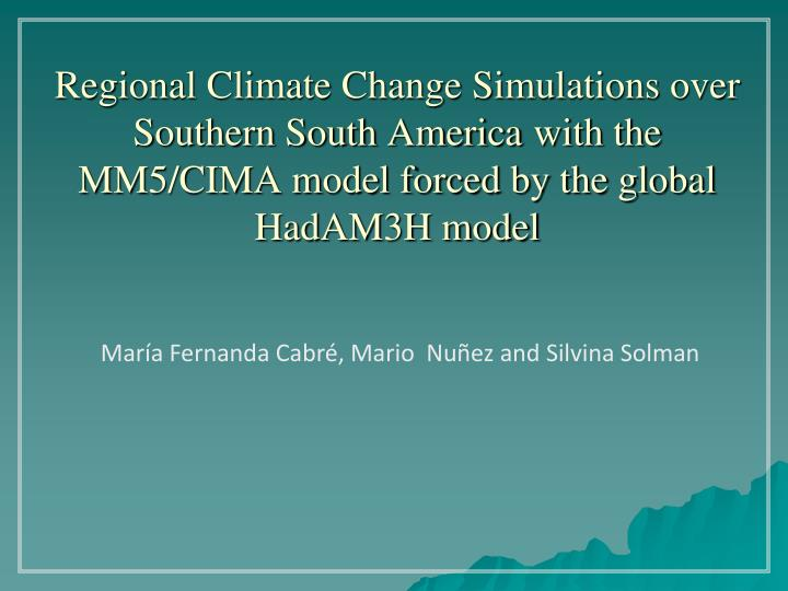 Regional Climate Change Simulations over Southern South America