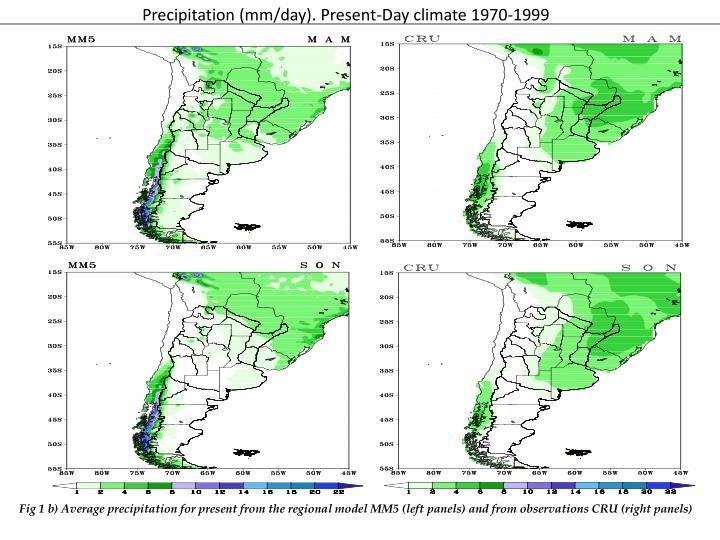 Precipitation (mm/day). Present-Day climate 1970-1999