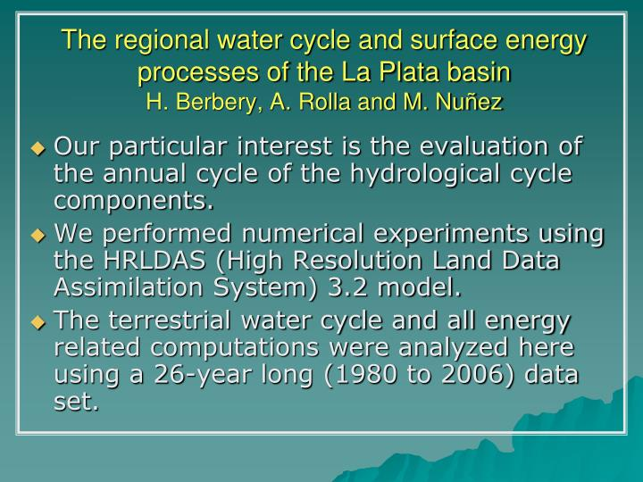 The regional water cycle and surface energy processes of the La Plata basin