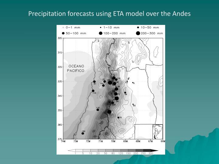 Precipitation forecasts using ETA model over the Andes