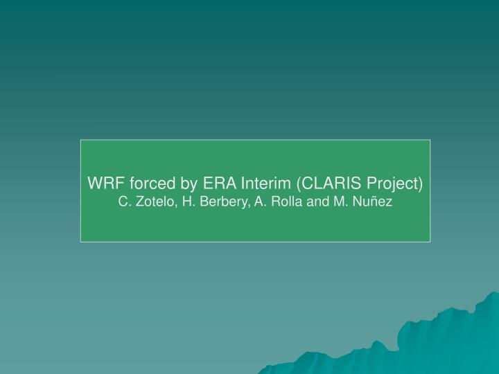 WRF forced by ERA Interim (CLARIS Project)