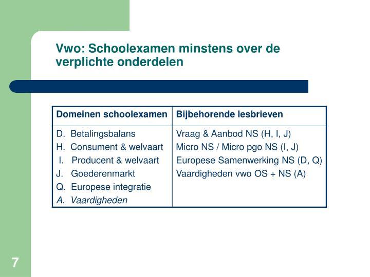 Vwo: Schoolexamen minstens over de verplichte onderdelen