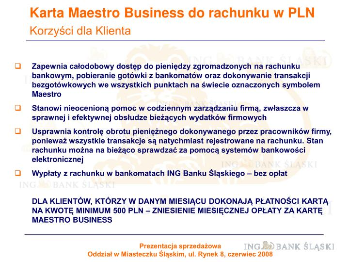 Karta Maestro Business do rachunku w PLN