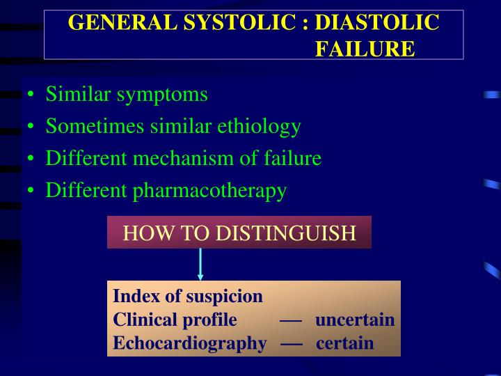 GENERAL SYSTOLIC : DIASTOLIC                               FAILURE