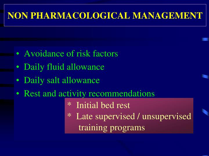 NON PHARMACOLOGICAL MANAGEMENT