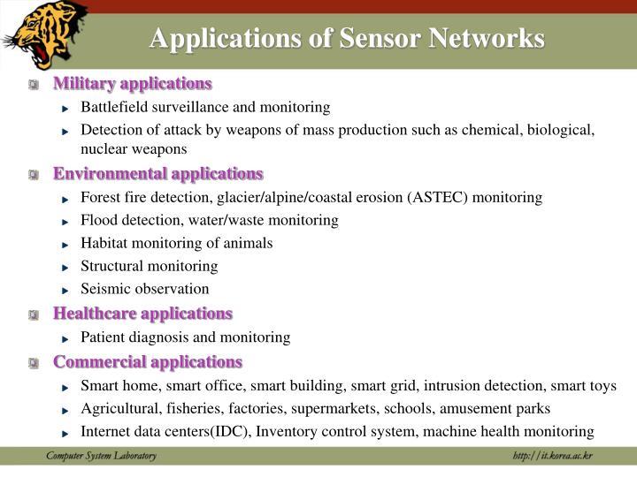 Applications of Sensor Networks
