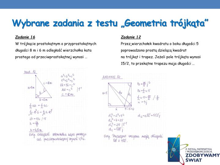 """Wybrane zadania z testu """"Geometria trójkąta"""""""