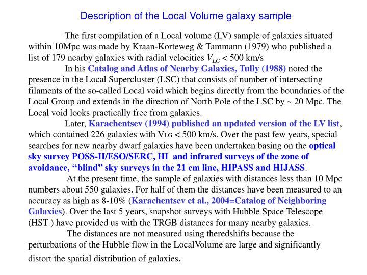 Description of the Local Volume galaxy sample