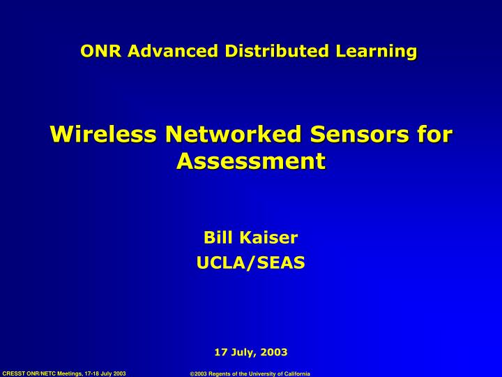 ONR Advanced Distributed Learning