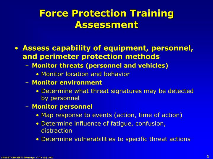 Force Protection Training Assessment