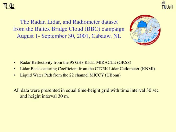 The Radar, Lidar, and Radiometer dataset