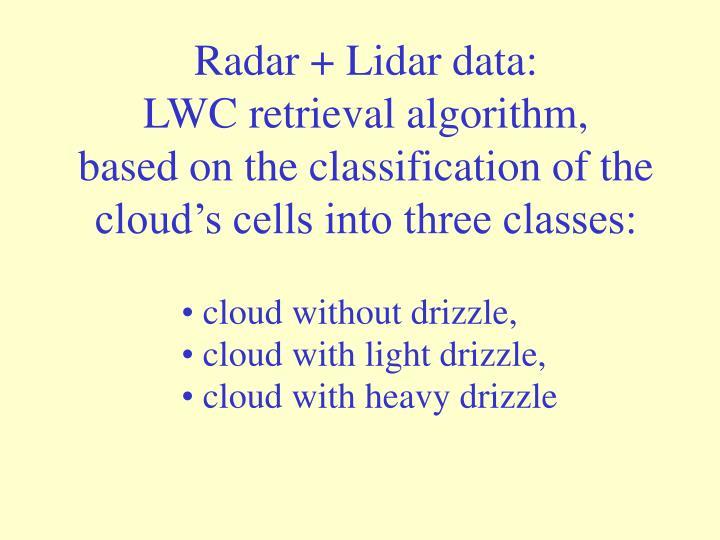 Radar + Lidar data: