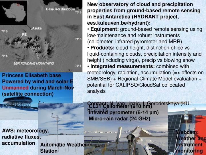 New observatory of cloud and precipitation properties from ground-based remote sensing in East Antarctica (HYDRANT project, ees.kuleuven.be/hydrant):